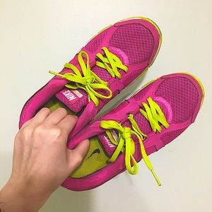 Nike Dual Fusion Pink and Neon Sneakers Size 8